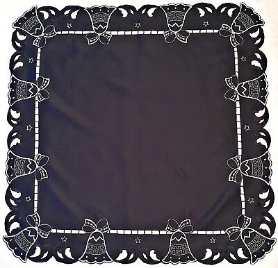 $ CDN20.67 • Buy Vintage Christmas Bells Cut Embroidery Lame Silver Tone Dark Blue 31  Tablecloth