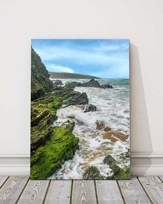 £23.95 • Buy A View From Crantock Beach Newquay Cornwall Canvas Picture Print Framed Portrait
