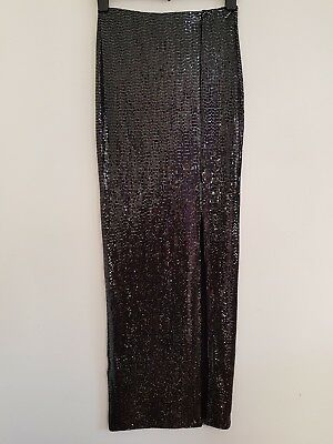 NEW TOPSHOP 6 8 10 Silver Metallic Sequin Embellished Bodycon Maxi Skirt Party • 3.99£