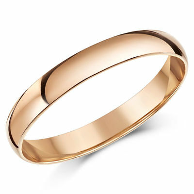 9ct Rose Gold Ring Light Weight D Shaped Wedding Band 3mm Gold Ladies Ring • 73.35£