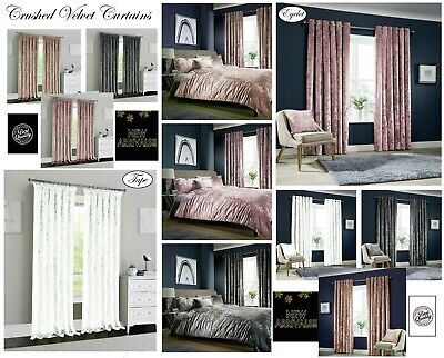 Luxury Crushed Velvet Duvet Cover OR Curtains Eyelet & Pencil Pleat + Tie Backs  • 36.99£