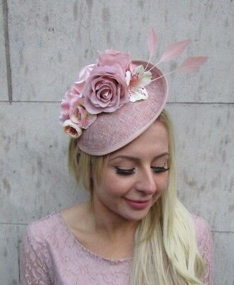 Blush Nude Pink Feather Flower Floral Disc Saucer Hat Fascinator Dusky Hair 6405 • 34.95£