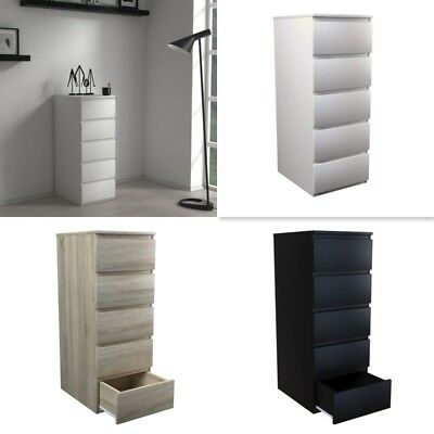 MODERN TALL - White, Black, Or Sonoma Oak - Tall Chest Of 5 Drawers - IKEA • 89.99£