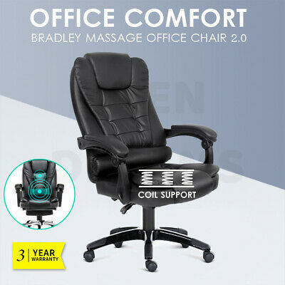 AU109.80 • Buy Executive Massage Office Chair Premium PU Leather Recliner Computer Gaming Seat