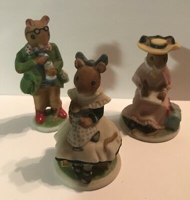 Lot Of 3 Franklin Mint 1985 The Woodmouse Family Porcelain Figurines • 9$