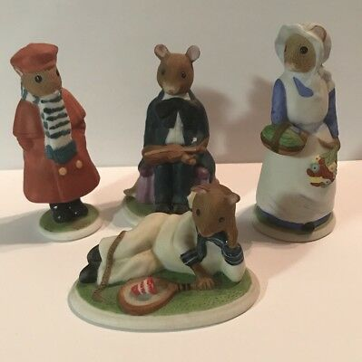 Lot Of 4 Franklin Mint 1985 The Woodmouse Family Porcelain Figurines • 10$