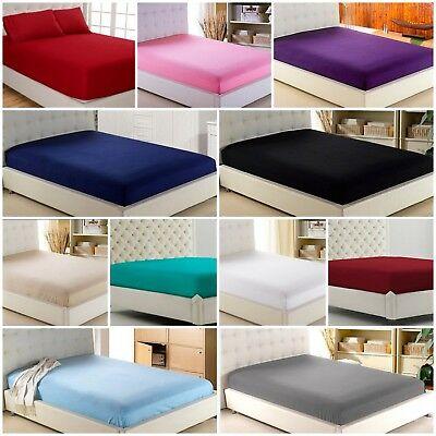 Premium Cotton Rich Fitted Sheet Bed Sheets 30cm Deep Single Double King S King  • 3.49£