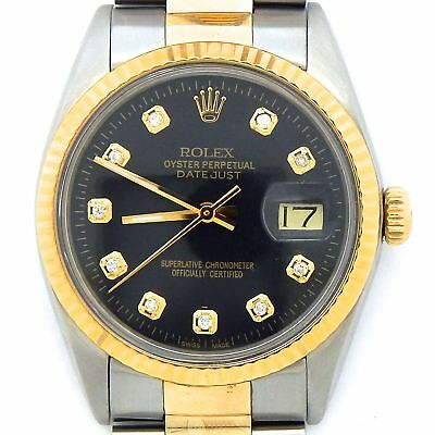 $ CDN6531.81 • Buy Rolex Datejust Mens Stainless Steel Yellow Gold Watch Black Diamond Dial 16013
