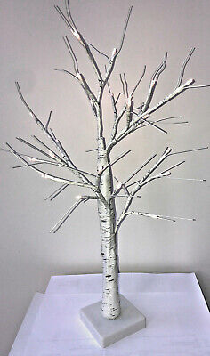 Table Top White Birch Tree With 24 LED Lights 60cm Battery Operated • 10.99£