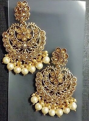 AU19.99 • Buy Indian Fashion Earrings Gold Plated With Pearls