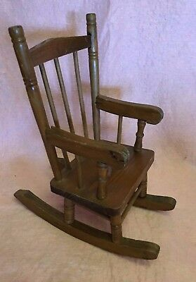 $11.99 • Buy Wood Wooden Doll Rocking Arm Chair Brown Spindles  11 In High 9 In Wide Toy Vtg