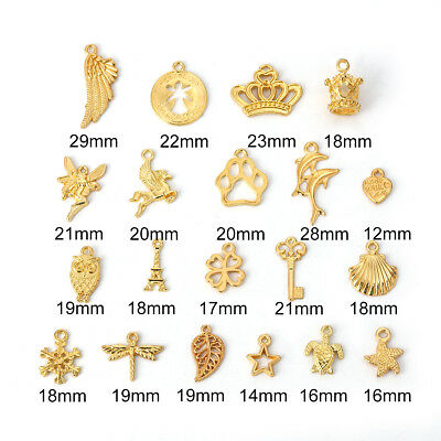 £2.70 • Buy 20 MIXED GOLD PLATED CHARM/PENDANT~Star~Dragonfly~Heart~Crown~Fairy~Angel (83C)