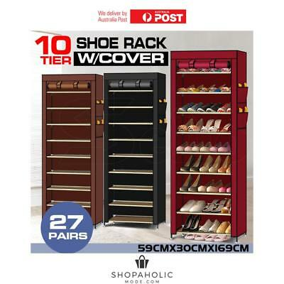 AU28.76 • Buy 10 Tier Shoes Cabinet Storage Organizer Portable Wardrobe Shoe Rack With Cover