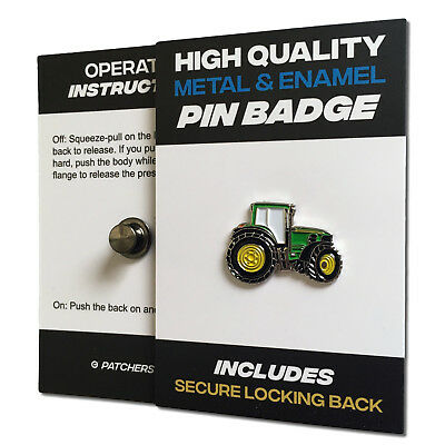 Green Tractor High Quality Metal & Enamel Pin Badge With Secure Locking Back • 3.75£