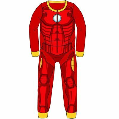BRAND NEW BOYS MARVEL IRON MAN ALL IN ONE FLEECE PYJAMAS AGES 2-3 Up To 7-8 • 6.99£