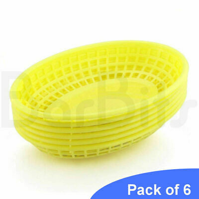 £7.95 • Buy BarBits Yellow Oval Fast Food Baskets Set Of 6 - American Plastic Burger Chips
