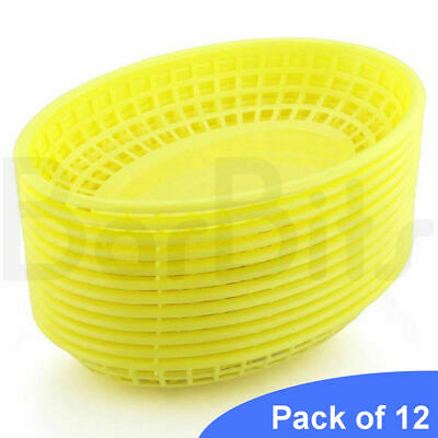 £9.95 • Buy BarBits Yellow Oval Fast Food Baskets Set Of 12 - American Plastic Burger Chips
