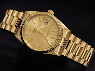 $ CDN12804.54 • Buy Rolex Date 15037 Men Solid 14K Yellow Gold Watch President Style Band Champagne
