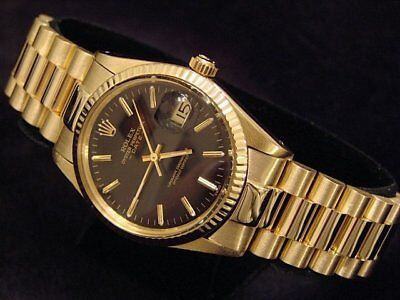 $ CDN12804.54 • Buy Rolex Date 15037 Men Solid 14K Yellow Gold Watch President Style Band Black Dial