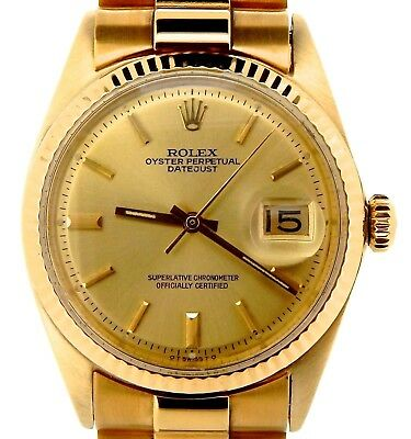 $ CDN10191.84 • Buy Rolex Mens Solid 18K Yellow Gold Datejust W/Gold Plated President Style Bracelet
