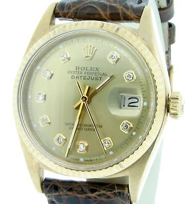 $ CDN10836.99 • Buy Rolex Datejust 1601 Mens Solid 18k 18KT Yellow Gold Watch Champagne Diamond Dial