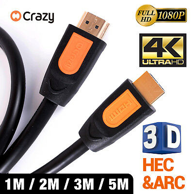AU5.95 • Buy HDMI Cable 3D Ultra HD 4K 2160p 1080p High Speed With Ethernet HEC ARC V1.4
