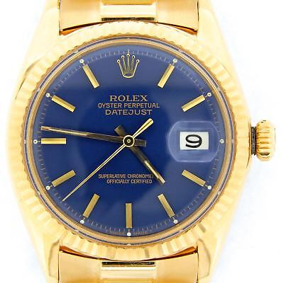 $ CDN16365.02 • Buy Rolex Datejust 1601 Mens 18K Yellow Gold Watch President Style Band Blue Dial