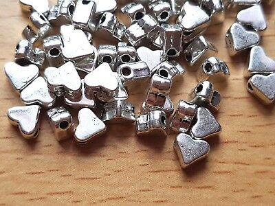 £2.95 • Buy Tibetan Silver HEART BEADS Small 6mm X 5mm Spacer-Jewellery Making 25/50/100/500