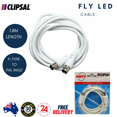 AU4.69 • Buy Clipsal TV Antenna Cable Premium PAL Male To F Type Aerial Cord Coax Lead 1.8m