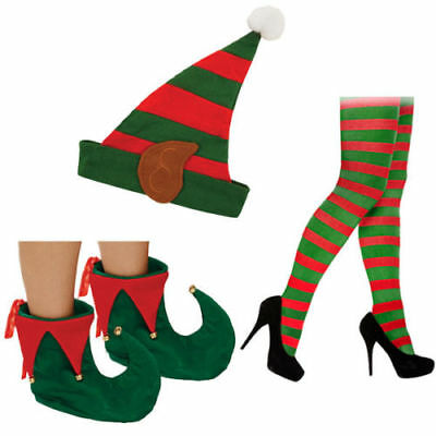 Ladies Elf Hat Shoes Tights Christmas Fancy Dress Costume Accessory Pixie Lot • 2.85£