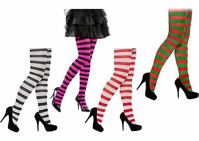 Ladies Stripe Tights Elf Xmas Santa Red Green White Neon Purple Bulk Job Lot • 3.79£