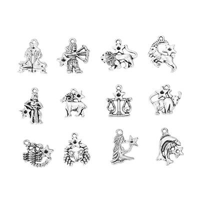 ❤ 12 X Silver Tone ZODIAC Constellation Star Sign Charm Pendant Jewellery UK ❤ • 1.95£