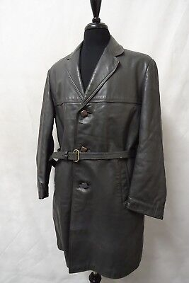 Post WW2 Vintage German Horsehide Leather Military Officer Trench Coat 42-44R  • 104.99£