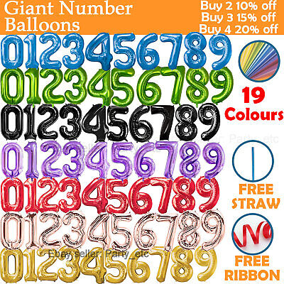 32  Air 40  Helium Giant Number Balloons Large Foil Birthday Age Party  • 1.79£