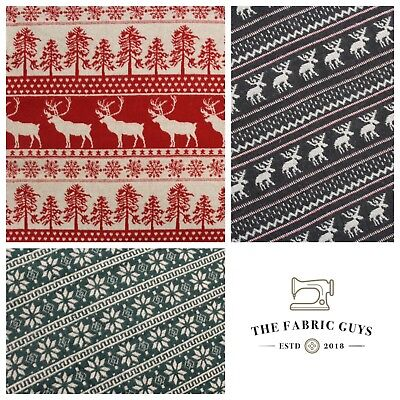 £6.99 • Buy Festive Christmas Wool Fabric 3 Designs Double Sided Pattern Polywool 60  Wide