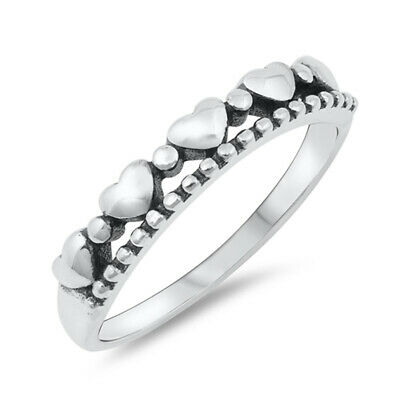 Oxidized Dove Leaf Peace Heart Purity Ring .925 Sterling Silver Band Sizes 4-10
