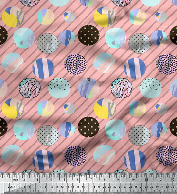 Soimoi Fabric Diagonal Stripe & Cookies Food Print Fabric By Meter-FD-521I • 7.60£
