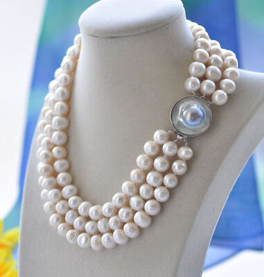 $48 • Buy P7097 3Row 18  11mm White Round Freshwater Pearl Necklace Mabe