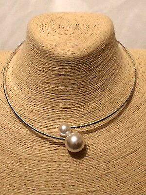 £10.99 • Buy Womens Statement  Beaded Faux Pearl Choker Silver Necklace Wedding Bridal Party