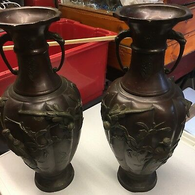 """£399.99 • Buy Antique Pair Of Chinese /Japanese Bronze Finial Urns Decorated With Birds 18"""""""