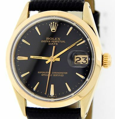 $ CDN4310.53 • Buy Rolex Date 1550 Mens 14K Gold Shell Watch Black Leather Band Black Dial 34mm