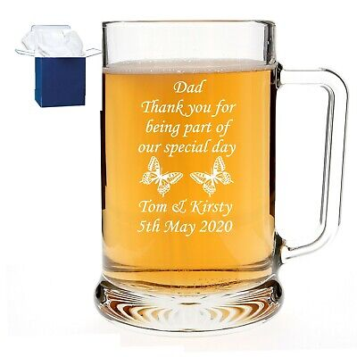 Personalised 1 Pint Dimpled Glass Tankard 18th 21st 30th Birthday Free Gift Box • 11.95£
