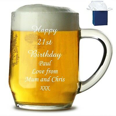 Personalised 1 Pint Glass Tankard 18th 21st 30th Birthday Free Gift Box • 9.95£