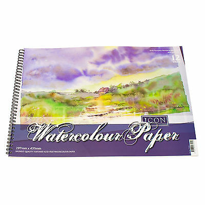 A3 Watercolour Pad 12 Sheet 300gsm Textured Paper Art Painting Drawing Sketching • 12.49£