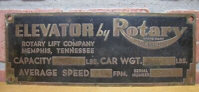 $195 • Buy Old ELEVATOR By ROTARY Brass Art Deco Sign MEMPHIS TENNESSEE AUTO SHOP LIFT