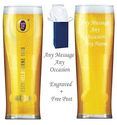 £11.95 • Buy Personalised Engraved Branded Pint Fosters Beer Glass Wedding Gift Free Gift Box
