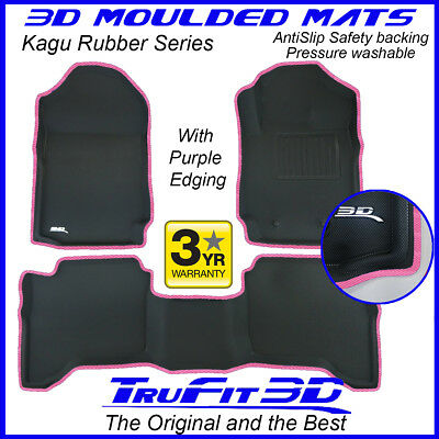 AU189 • Buy Fit Ford Ranger Dual Cab 2011-2020 Genuine 3D Rubber Floor Mats With PINK Edge