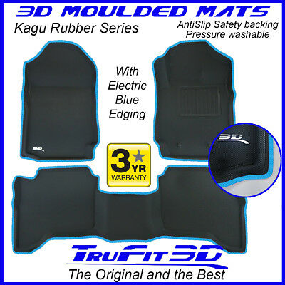 AU199 • Buy Fit Ford Ranger Dual Cab 2011-2021 Genuine 3D Rubber Floor Mat With LtBlue Edge