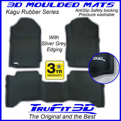AU199 • Buy Fit Ford Ranger Dual Cab 2011-2021 Genuine 3D Rubber Floor Mat With Silver Edge