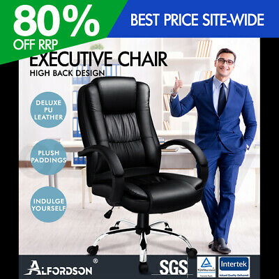 AU209.95 • Buy ALFORDSON Executive Office Chair PU Leather Computer Gaming Racer Black Seat
